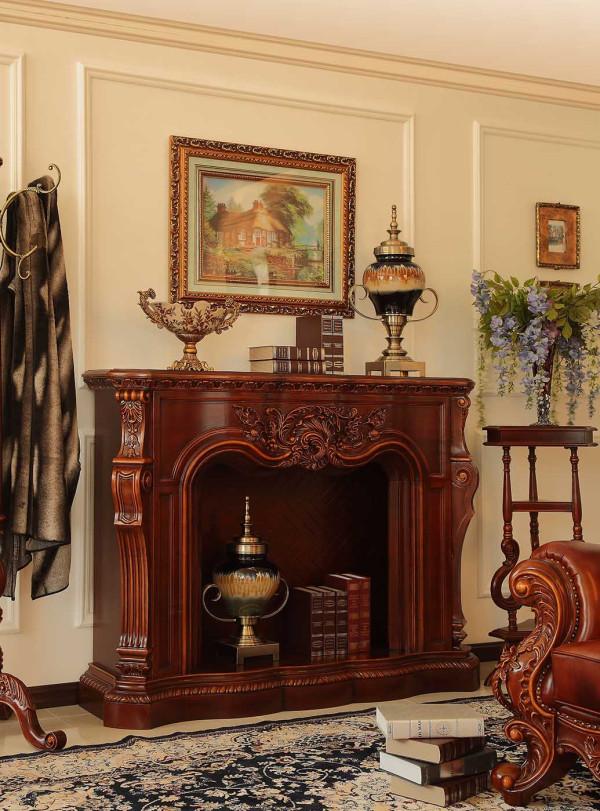 壁炉,精美雕花。色木材质