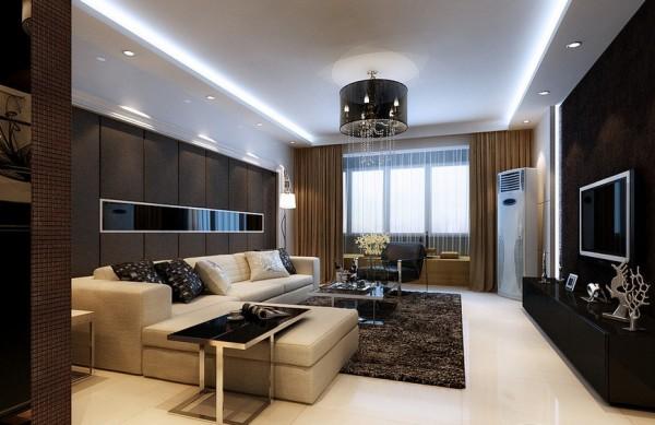 客厅电视墙与沙发墙呼应,色调统一。 色彩搭配:整体空间色彩以黑白灰为主。