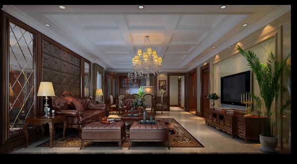 客厅面积相对来说不小,整天多用粗大的线条。后期配饰则多选用明显西式风格的,张扬但不奢华!
