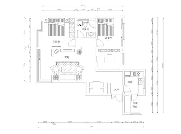 这是一个标准层B户型3室1厅1厨1卫92平米,现代简约风格的案例。