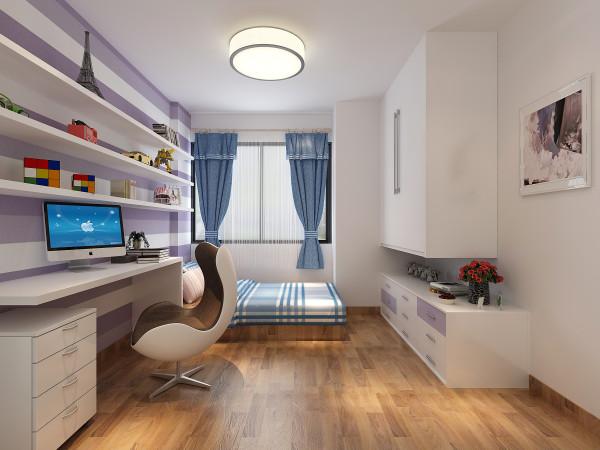小孩房:  针对儿童房面积的局限性,将墙面设计成蓝紫色为主调,写字台用了海蓝色,满足了孩子海阔天空的幻想。书架和床遥相呼应,增强了视觉的平衡感。