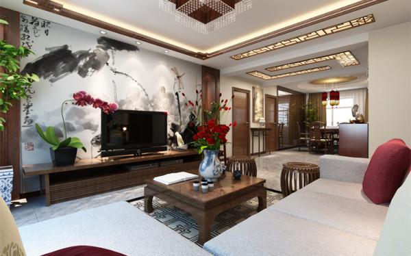 中国风并非完全意义上的复古明清,而是通过中式风格的特征,表达对清雅含蓄,端庄风华的东方式精神界的追求。利用古典的木色造型搭配电视背景墙的水墨画