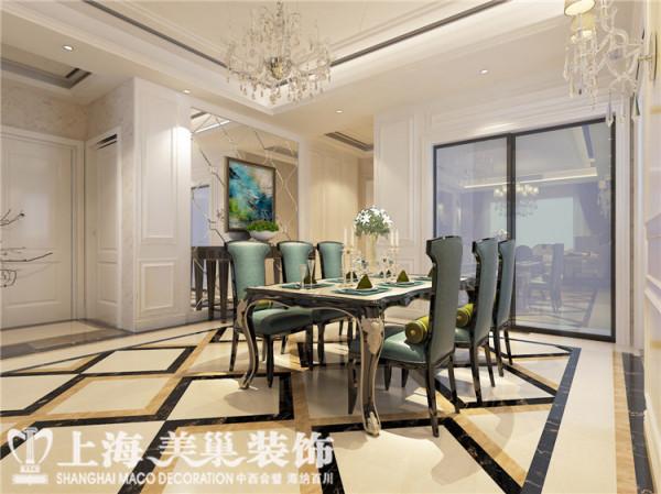 郑州昌建誉峰170平四室两厅简欧风格餐厅装修效果图:餐厅顶面运用了平顶勾缝,大量的欧式顶角线。墙面且边镜,护墙板,石材拼花,整体的空间效果图片中有展示。