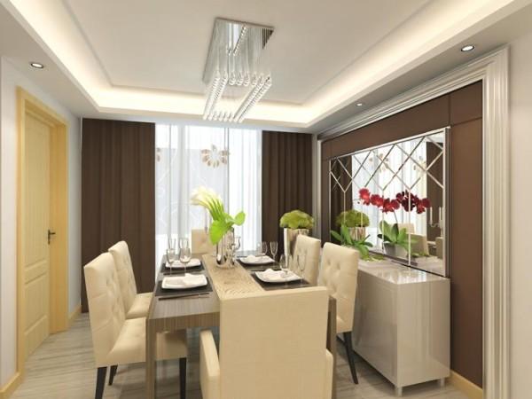 案的餐厅设计亮点便是墙面艺术镜面,以及吊顶。还运用两幅现代挂画,更符合现代人的审美品位。