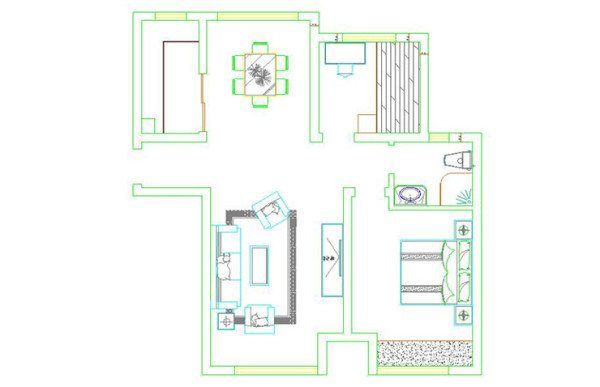 小城之春90平方两室两厅一卫户型图