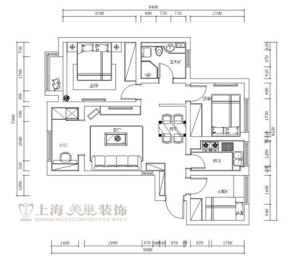 贰号城邦78平LOFT挑高复式两室两厅简欧风格装修户型图