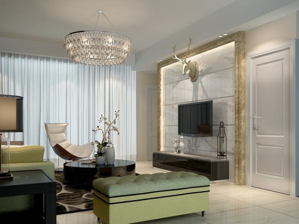客厅采用了软硬对比的设计手法,大理石边框暗藏灯带下轻柔的藤花壁纸,产生了极大的视觉空间感。