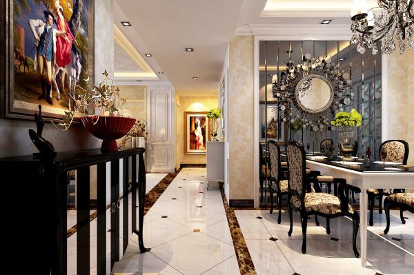 郑州升龙国际中心三居室简欧风格入户门装修效果图:地面的拼花和顶面的天花的处理,筒灯以及玄关处的造型,都以简单大气为主。