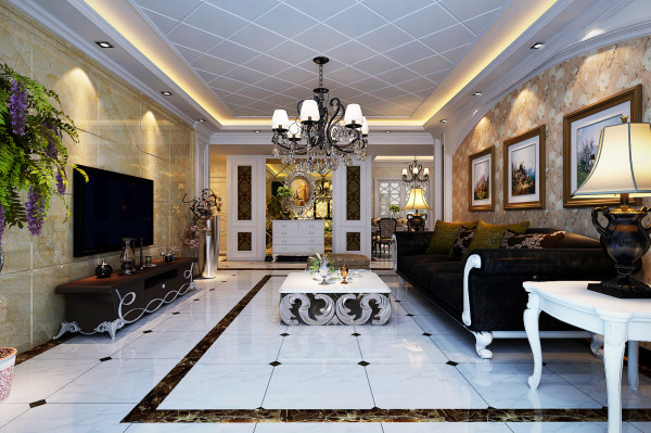 升龙国际中心三居室简欧风格客厅装修效果图:沙发墙两侧护墙板与壁纸结合,让这个空间感更加大气,与整个空间相得益彰