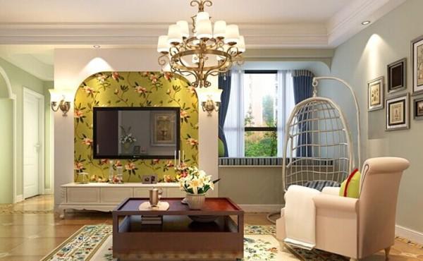 简约而不简单,石膏板弧形造加上清新碎花壁纸电视背景墙,与弧形造型飘窗交相呼应,使得飘窗并不突兀。两边的壁灯更是画龙点睛。