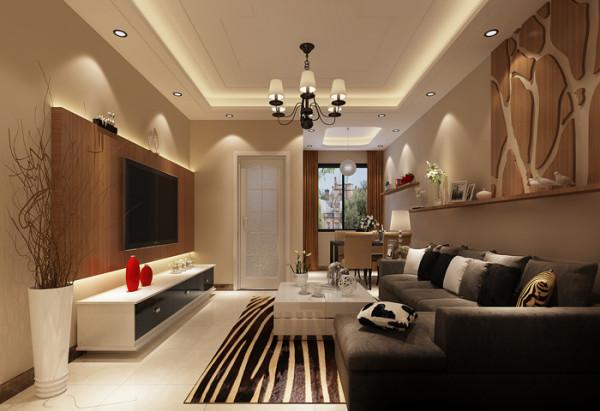 新景家园(66平)一居室户型现代简约风格客厅效果图展示