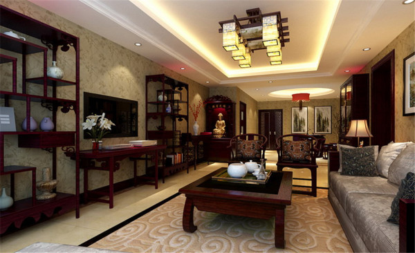 客户是一位五十多岁的企业家,很有社会地位,特别喜欢中式的设计风格。本案将中式镂空花格,西班牙米黄,沙比利木等自然材质将空间的古朴素雅展现的淋漓尽致,尽显中式古典韵味。