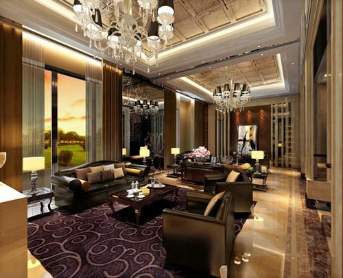 客厅:我们采用大理石拼花地坪和牛皮沙发及水晶吊灯的搭配,在色彩的处理上做到了又对比但却不冲突,很好的阐释了时尚的味道。