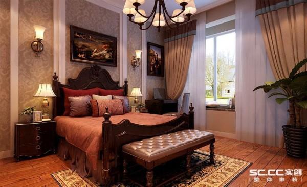 卧室设计: 实木、棉麻、仿古砖、藤艺的结合,通过典雅的格调烘托出客户低调且随性的生活品质。