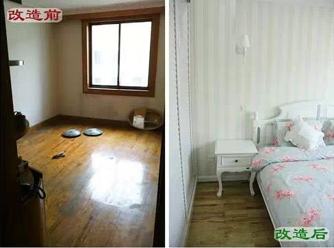 改造后:次卧变主卧,原实木地板保留,刷成淡绿色,墙面贴上条纹墙纸,整体清新舒适。