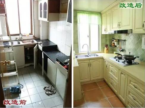 改造后:油烟机隐藏在柜门后,更美观而且还增加了收纳空间,勺子等常用厨具装在置物架上,微波炉也架空在厨柜下,增加了有限的台面操作空间。厨房整体风格采用浅绿+米白,做饭都美美哒!