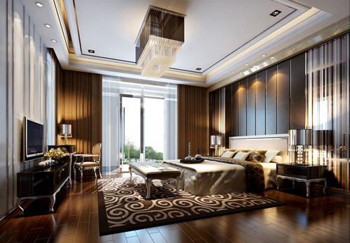主卧:没有刻意的堆砌,层次丰富的墙面具有很好的立体感和一体感;深色的地板包覆着浅色的软装,在光线不足的时候也能保持良好的光感,不会压抑内心。