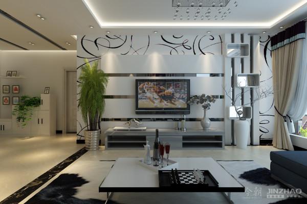 客厅1 大胆的运用了抽象式壁纸作为电视墙的背景,烘托出来一种年轻化,活跃化的氛围。