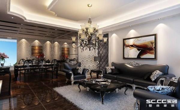 客厅区域在使用艺术玻璃和壁纸来突出新古典风格的低奢美。摒弃了传统古典风格的繁琐复杂,并大胆融入了大面积的艺术玻璃,使整个空间看起来通贯联通。