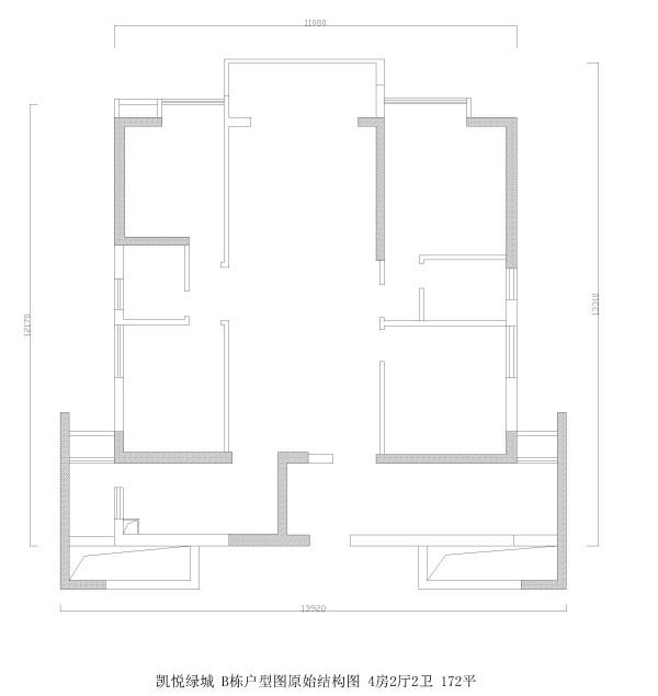 凯悦绿城B栋户型图原始结构图 4房2厅2卫 172平