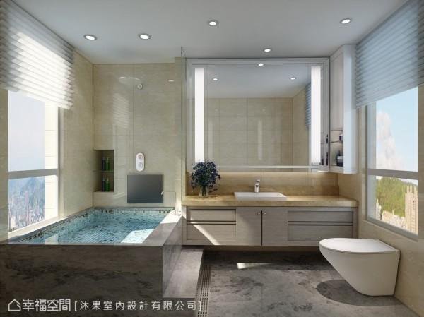 打掉原有的浴缸,新的宽敞浴池使用大理石材质打造,墙面设置LED屏幕,为屋主带来放松的卫浴体验。