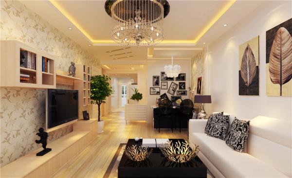 客厅设计: 客厅的吊棚看起起来使客厅更加明亮与舒适,简约的电视背景墙铺满整个墙面,使整个客厅彰显的更加的大气。 墙面的柜子与沙发背景墙的柜子相呼应,满足了储物与软装的需求,也使得空间更加现代