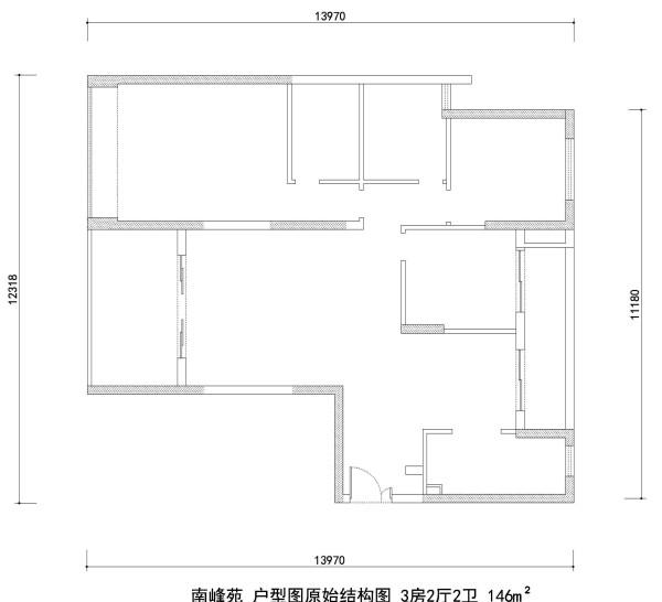 南峰苑户型图原始结构图 3房2厅2卫 146m²