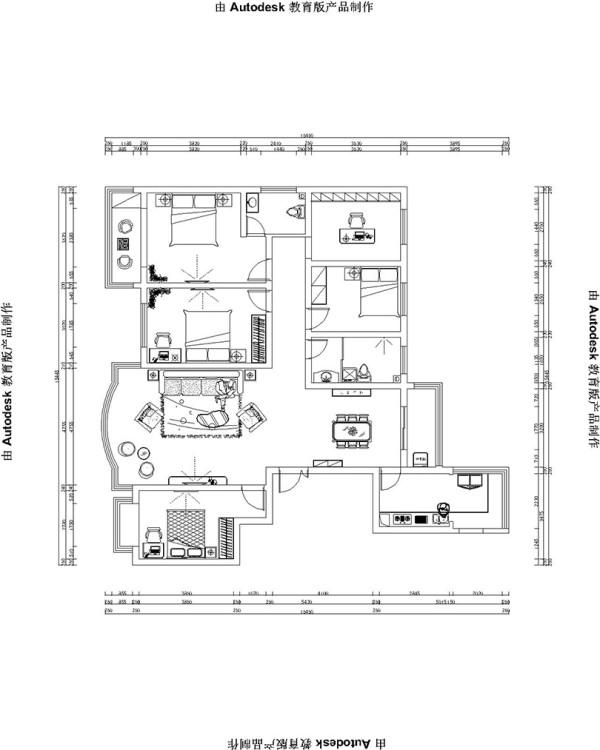 锦艺国际轻纺城简193平五室两厅简欧风格装修户型图