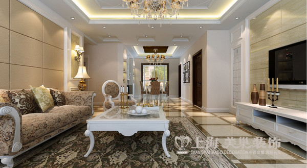 锦艺国际轻纺城简9号楼193平简欧风格装修效果图--客厅