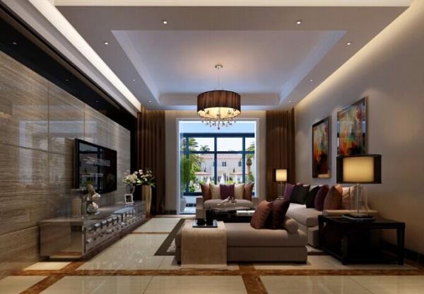 客厅的地面用到地砖,为了风格上突出增加了波打线的效果,整体通铺到餐厅门厅。设计感使客厅在温馨中不失华丽。