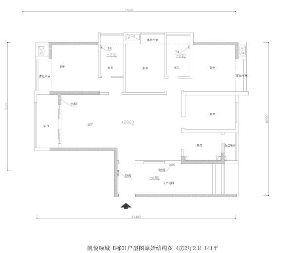 凯悦绿城 B栋01户型图原始结构图 4房2厅2卫 141平