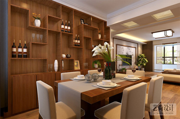 这两张轻工业家属院130平方效果图,酒柜+书柜,大家都知道,木工工费非常贵,手工艺活,造价高,这两大项在装修中占一部分费用。