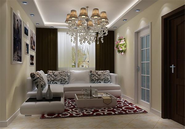 因空间比较小所以采用了镜子材质做装饰。是那种艺术镜反光不是很强烈的,深咖啡的乳胶漆和入户门的防盗门颜色接近,起到过渡协调的作用。同时和其他墙面的米色是同一色系增加空间整体感!
