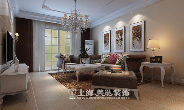 郑州建业森林半岛120平简欧风格装修效果图--客厅