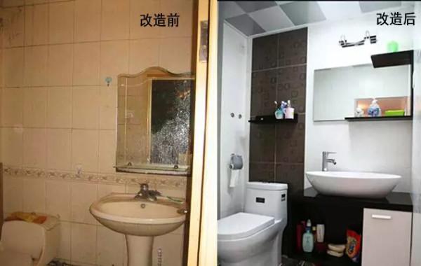 改造后:卫浴用品全部换新,洗手池下方增加了储物柜,墙壁上都增加了置物架,节省空间,更实用。