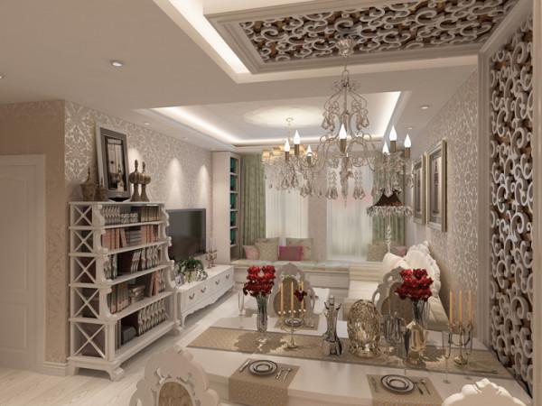 世界城(76平)一居室户型欧式风格客厅效果图展示