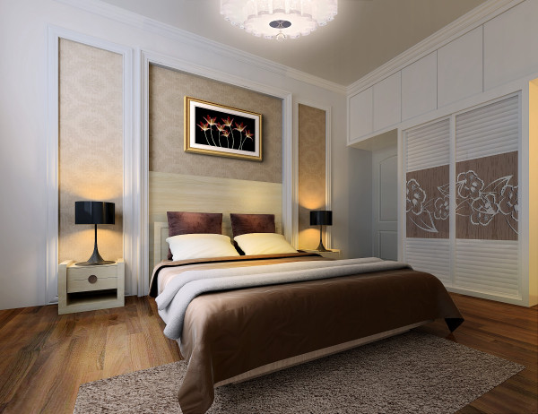 床头两侧最好有床头柜,用来放置台灯、闹钟等随手可以触到的东西。有的卧室功能较多,还应考虑到梳妆台与书桌的位置安排。