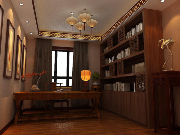 书房以沉稳自然的胡桃色和墨绿色的窗帘搭配,加上橘黄色的灯光,让整个书房安静清心,给人整个心灵放松下来。顶面吊顶射灯的分部恰好的将灯光打在装饰壁画上,整个空间不用放太多的家具,
