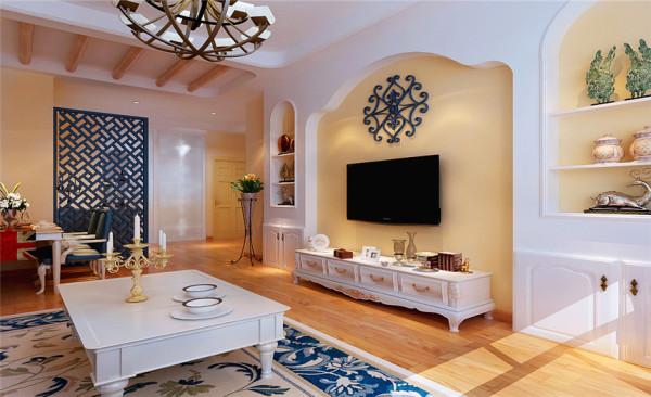 """电视背景墙设计: Romance Town:拱形的浪漫空间 """"地中海风格""""的颜色配饰搭配,家具的搭配这些点点滴滴,让人仿佛置身于海中,让人有中穿越古罗马,置身浪漫巴黎的feel."""