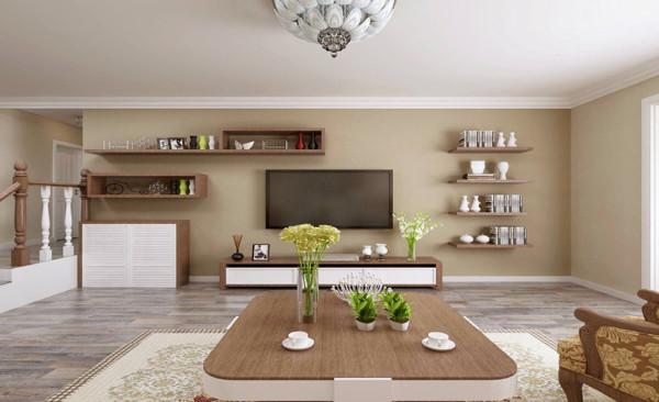 电视背景墙设计: 本方案以简单的线条,配以硅藻泥、高级灰色的壁纸、美式的实木家具、木质的画框,使每个小细节都充满艺术感