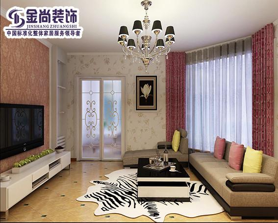 客厅整体色调以白色和粉色为主,温馨、浪漫,不规则的客厅更有情调,沙发的色调和地砖拼花相呼应,更有一丝摩卡情怀。