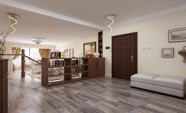 门厅设计: 门厅位置特意设计了一个放在墙边的小沙发,不仅可以在换鞋的时候休息使用也可以和整体的空间搭配相呼应