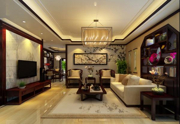 但空间中的主体装饰物还是中国画、 宫灯和紫砂陶等中国传统饰物,而在偶尔的位置,还可以选择抽象或是几何线条的现代装饰品来给空间对比增色。
