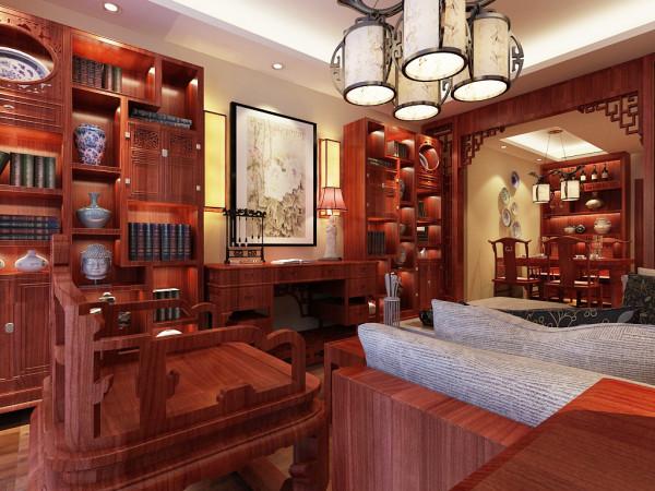 业主喜欢红木家具,喜欢书法,用禅试壁灯与红木家具的对比。形成整体古典中式味道。   地板:东洋名木。墙漆:福乐阁。 木门:巴赫曼木门。石膏板吊棚造型。家具:红木家具。