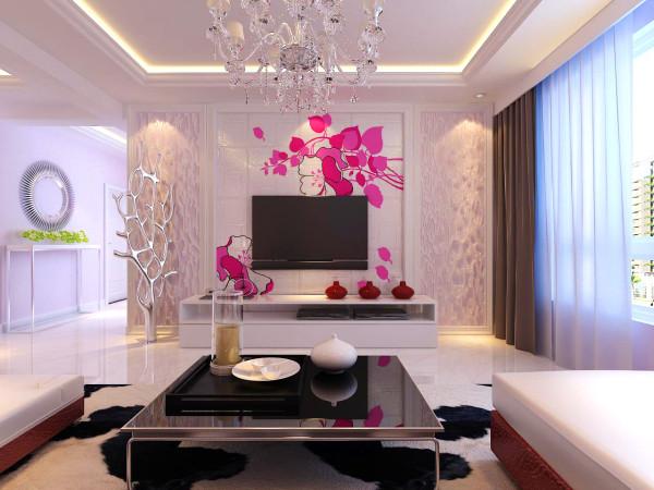 客厅作为屋子的中心,值得更多关注。因此电视背景墙就尤为重要 电视背景墙采用了纯度很高的粉色花朵图案,可以适当的放松眼睛的疲劳。 淡粉色5系福乐阁乳胶漆,墙壁装饰画。