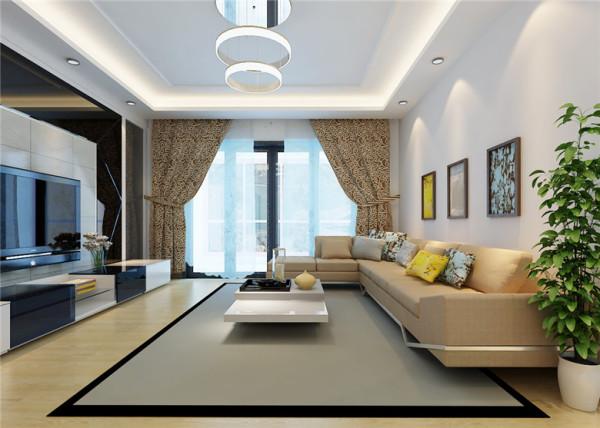 波尔多庄园现代简约风格客厅:这是一个客厅的整体效果图,大面积的采用同一色,不会出现说色彩果断而感觉整体不协调,简单的直线也营造出不一样的感觉。