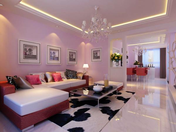 客厅在人们的日常生活中 使用是最为频繁的,沙发背景墙采用淡粉色的墙漆能让人在快节奏的工作压力下很快的放松下来。 龙牌石膏板耐火系列做造型。