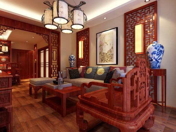 用禅试壁灯与红木家具的对比. 地板:东洋名木.墙漆:福乐阁.