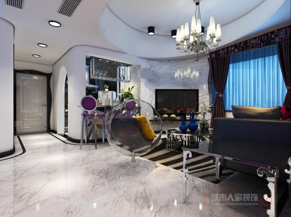 爵士白石材的电视墙和吧台台面,有阵列感的镜面吧台造型,超有艺术感。