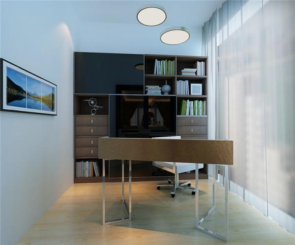波尔多庄园现代简约风格书房:书房本身就需要简简单单的一个看书休闲办公的地方,简单的装饰。融进墙体的一个书柜将空间充分的运用,同时也使得狭小的书房空间利用率更高!